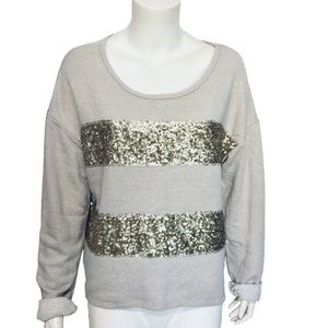 XHILARATION | Striped Gold Sequined Sweater Size L